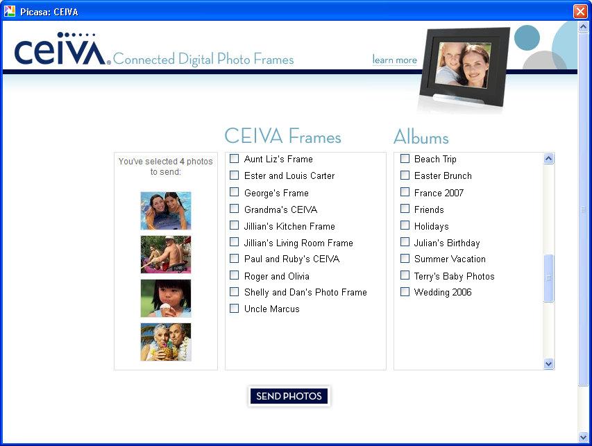 CEIVA Sender for Picasa Plug-in Released